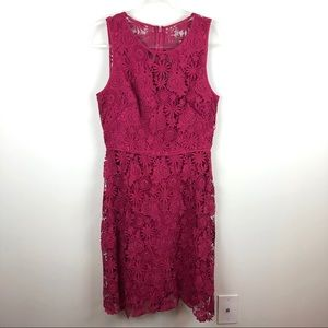 White House Black Market Red Lace Overlay Dress 8